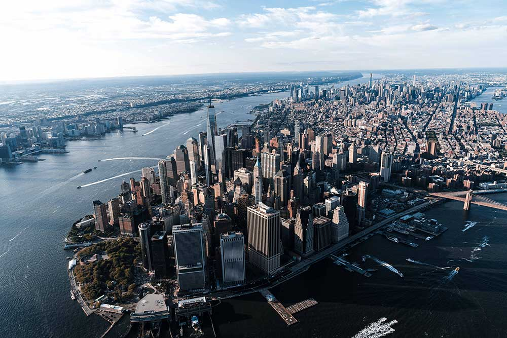 aerial view of Manhattan, New York showing the city skyline